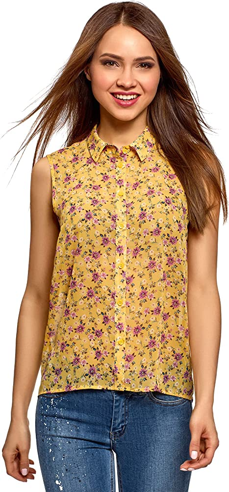oodji Ultra Mujer Blusa de Tejido Fluido con Cuello de Camisa, Amarillo, ES 34 / XXS: Amazon.es: Ropa y accesorios