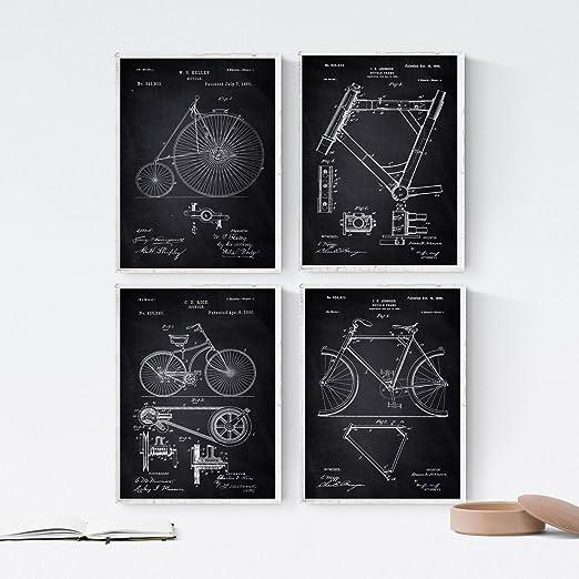 Nacnic Negro - Pack de 4 láminas con Patentes de Bicicletas. Set ...