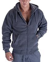 Heavyweight 1.8 lb Full-Zip Sherpa Lined Fleece Hoodies for Men Plus Sizes S - 5XL Men's Solid Jackets Dark Grey XXX-Large