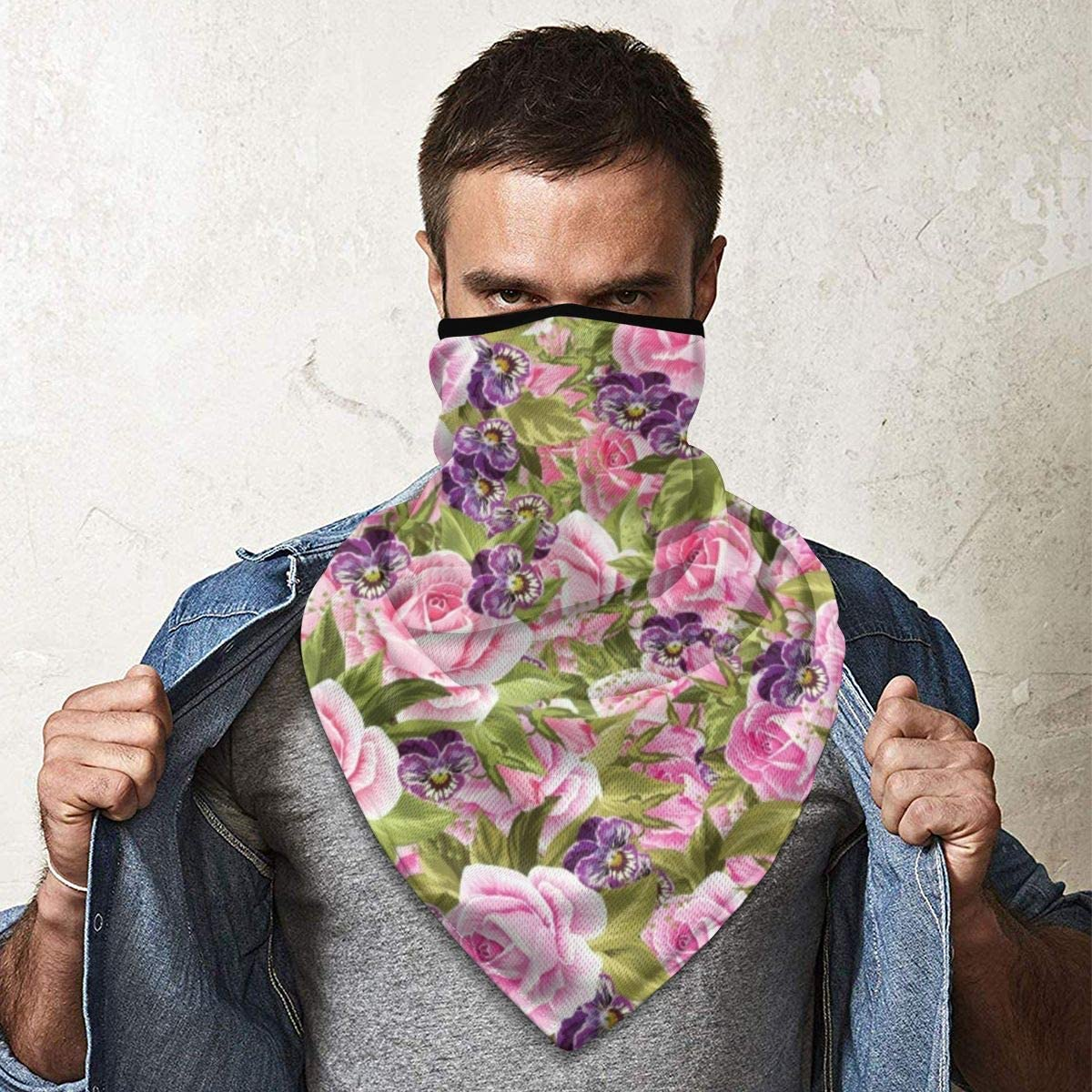 Wind-Resistant Face Mask/& Neck Gaiter,Balaclava Ski Masks,Breathable Tactical Hood,Windproof Face Warmer for Running,Motorcycling,Hiking-Pink and Lilac Flowers Pattern