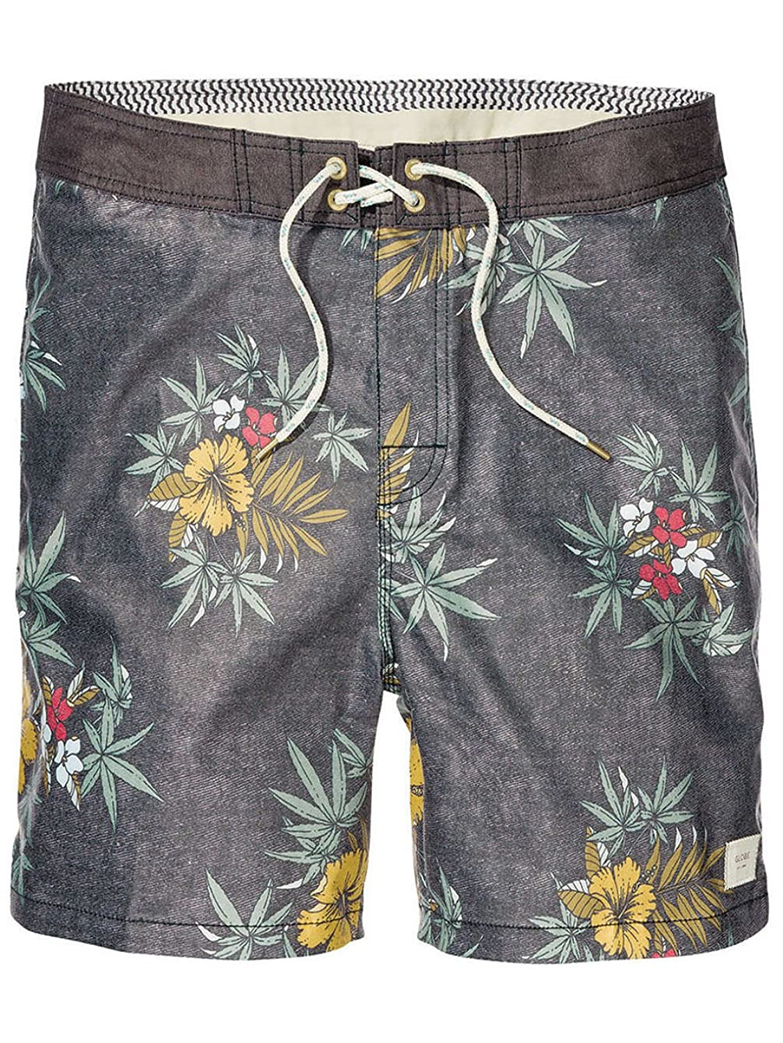 "Globe Mens Hibiscus 18"" Boardshorts - Floral Swimshorts in Black"