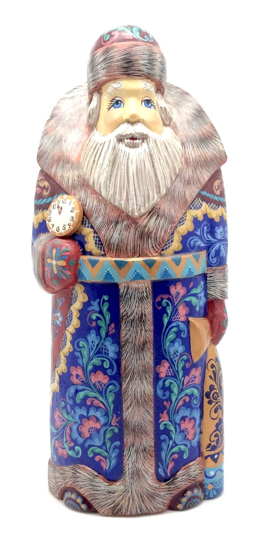 Russian SANTA Claus Wood Hand Carved Hand Painted Signed by artist