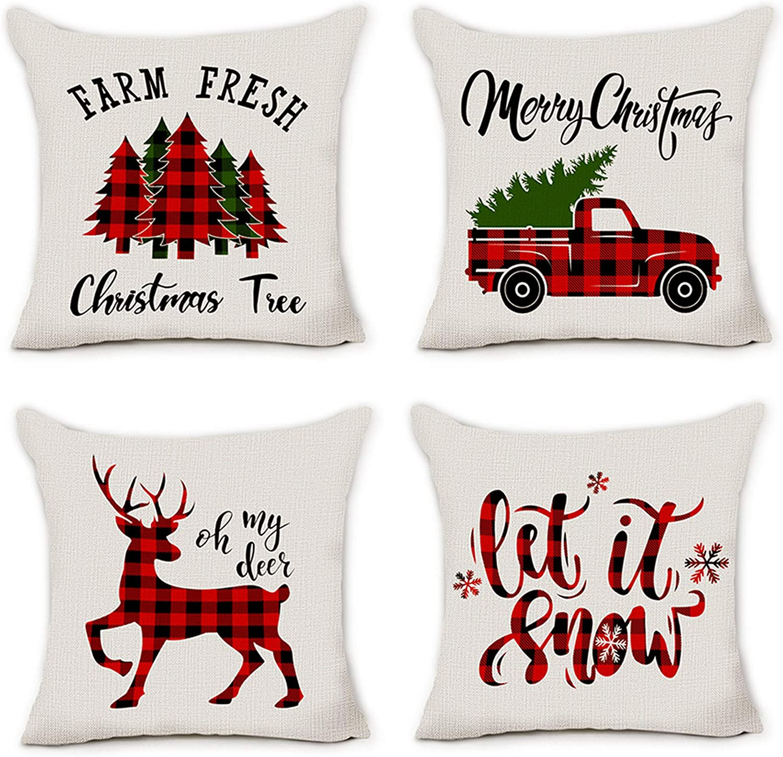 Amazon Com Pinata Christmas Pillow Covers 18x18 Farmhouse Buffalo Plaid Christmas Decorations Throw Pillows Cases Set Of 4 Winter Holiday Black Red Truck Xmas Tree Seasonal Home Outdoor Decor Cushion Covers Home