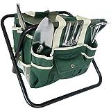 Frostfire, kit di 7 strumenti essenziali per giardinaggio, con borsa di stoccaggio e sgabello (etichetta in lingua italiana non garantita)