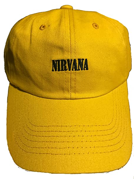 7ad1657450a Nirvana Logo With Smile Smiley Face On Back Embroidered Dad Hat Baseball Cap  - Mustard  Amazon.ca  Clothing   Accessories