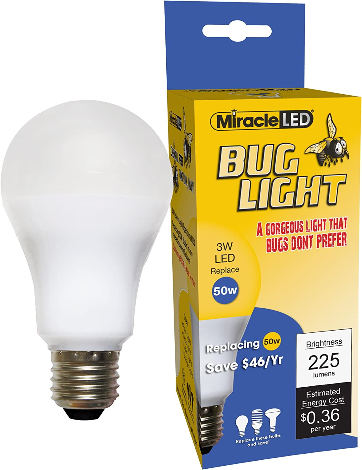 Miracleled 605023 3w Bug Single Pack Replacing Old Hot 50w Incandescent Bulbs Yellow Light Led Household Light Bulbs Amazon Com