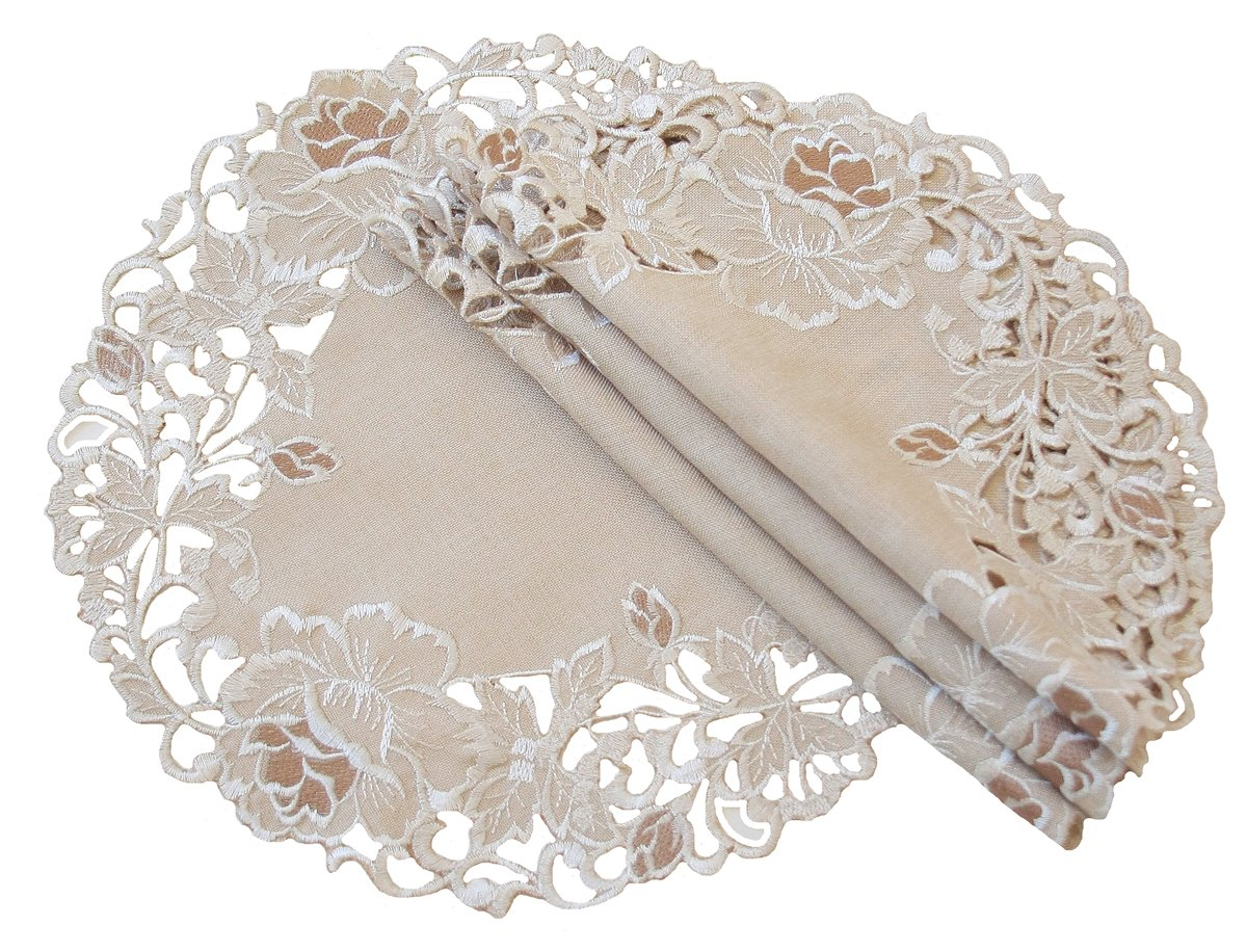 Xia Home Fashions Scrolling Rose Embroidered Cutwork Floral Doilies, 12-Inch Round, Taupe, Set of 4