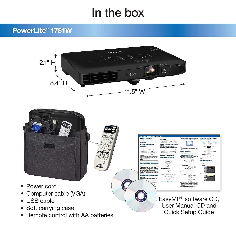 Amazon.com: Epson PowerLite 1781W WXGA, 3,200 lumens color brightness  (color light output), 3,200 lumens white brightness wireless 3LCD Portable  Projector: ...