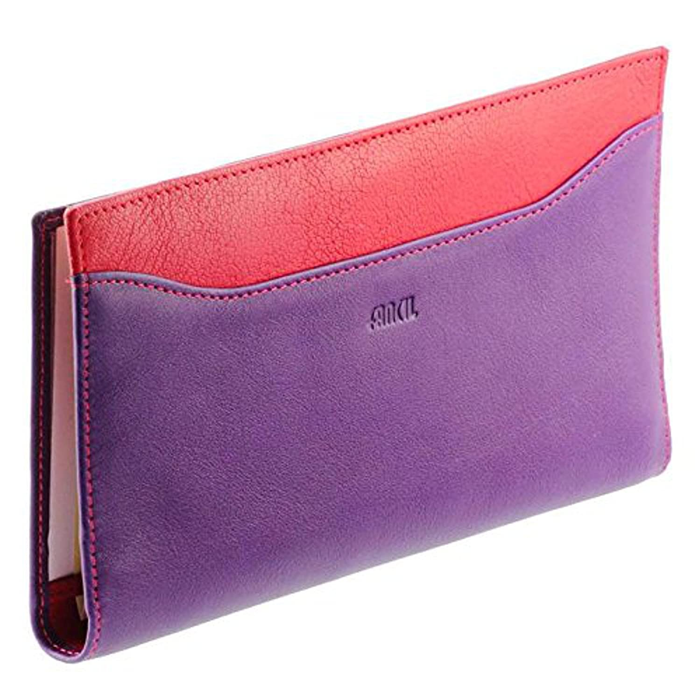 Fancil - Porte-chéquier violet et rouge en cuir