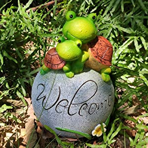 JHP Tortoise Garden Statue for Outdoor Decoration, Funny Welcome Tortoise Garden Figurines, Turtles on Stone Rock with Welcome Sign, Housewarming Gifts, Garden Patio Accessory and Yard Art