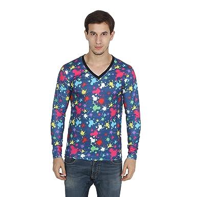 4247545a Varo Printed Men's V-neck Dark Blue, White T-Shirt: Amazon.in ...