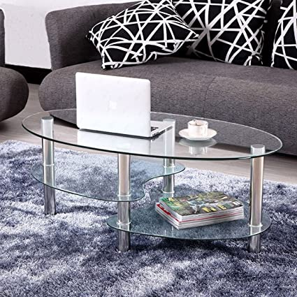 clear glass furniture stainless steel kize clear glass oval side coffee table shelf chrome base living room furniture amazoncom