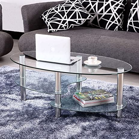 Amazon.com: KIZE Clear Glass Oval Side Coffee Table Shelf Chrome ...