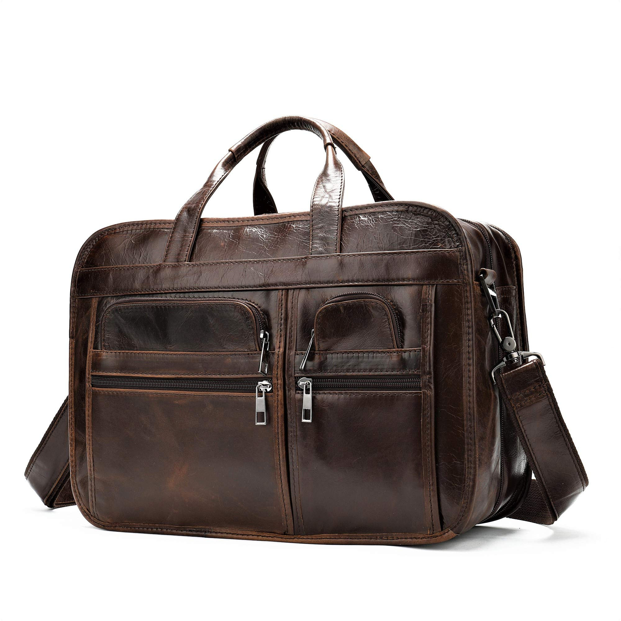 Genuine Leather Messenger Bag Briefcase for Men,Laptop Tote Bag,Shoulder Satchel or Crossbody Bag 15.4 inch(Dark Brown)