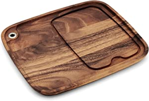 Ironwood Gourmet Fort Worth Steak Plate with Juice Channel, Acacia Wood