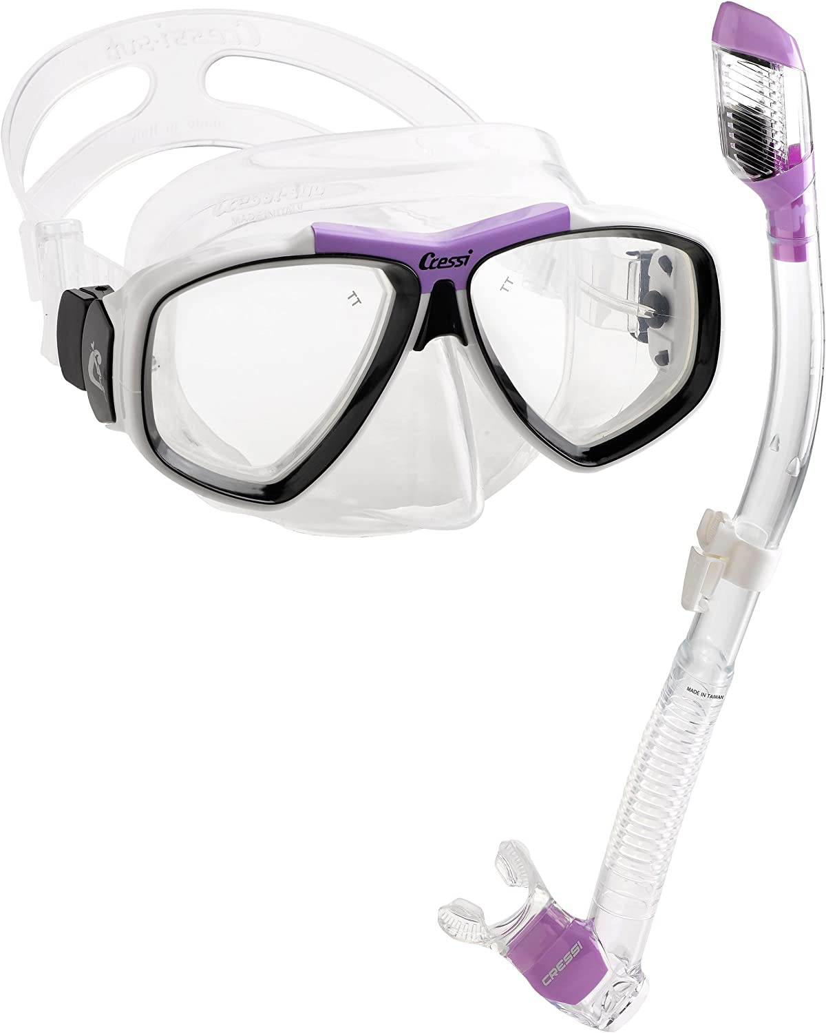 Cressi Focus Snorkeling Dive Mask with 100% Dry Snorkel Set