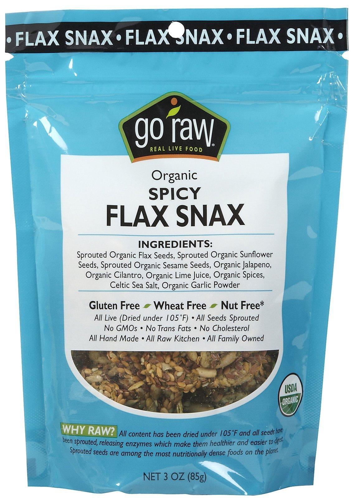 Go Raw Freeland Flax Snax, Spicy Flax Snax, Bags, 3 oz