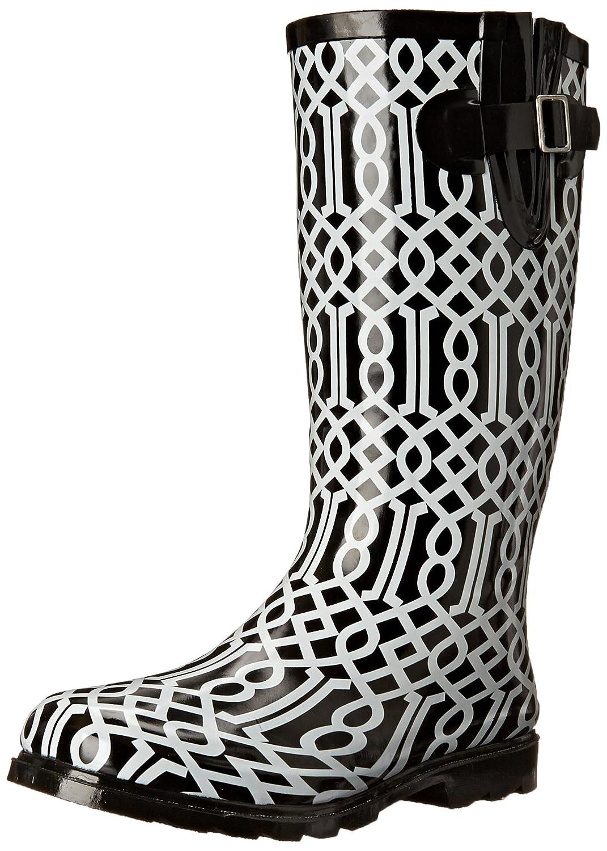 Nomad Women's Puddles Rain Boot B00T9QQM0I 6 B(M) US Black/White Trellis