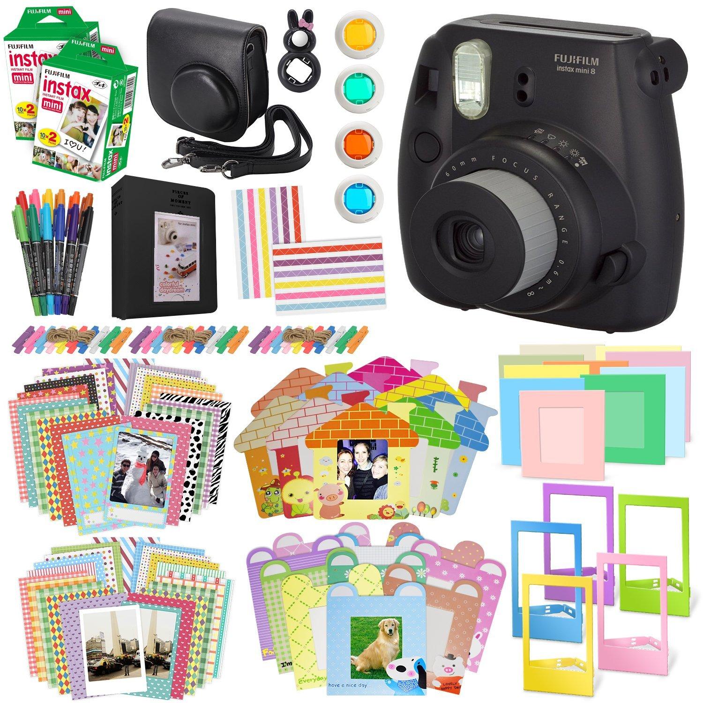 Fujifilm Instax Mini 8 Instant Film Camera, (Black), 2 Twin packs mini Instant Film, Case, Album, selfie mirror, colored close up filters, 40 film frames, 12 color markers & Complete Bundle