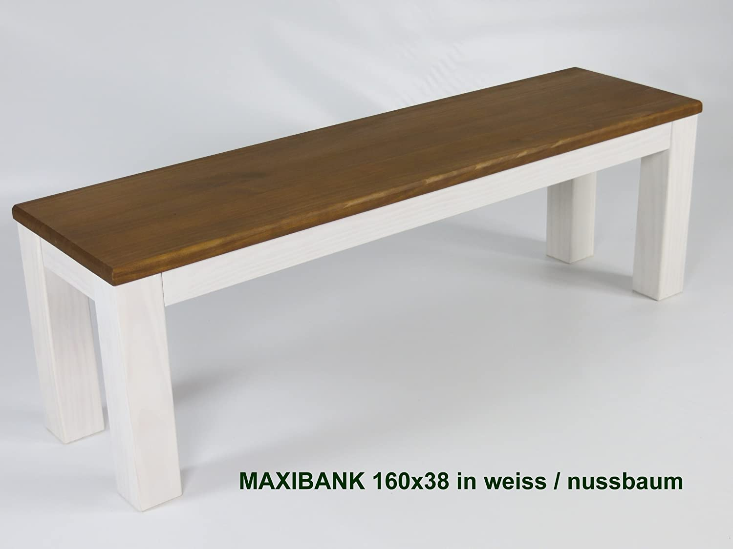 MassivholzmÖbel Kuckuck Bench 160 X 38 Cm Tonal Weiss-Walnut - Solid Pine Bank Oiled And Waxed