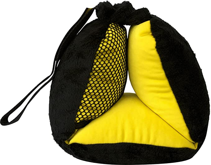 Bubble Bum Sneck Neck Pillow, Black/Neon Yellow - The Cozy and Convertible