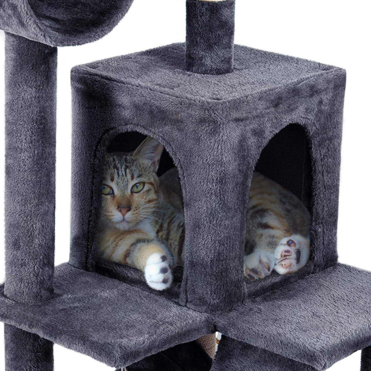 Yaheetech 130CM Cat Tree Tower with Sisal Scratching Post,Cat Tree Condo with Tunnel//Hammock,Dark Gray