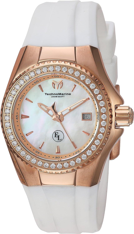 TechnoMarine Women 's ' Eva Longoria ' Swiss Quartzステンレススチールand Silicone Casual Watch, Color : White (Model : tm-416011 )