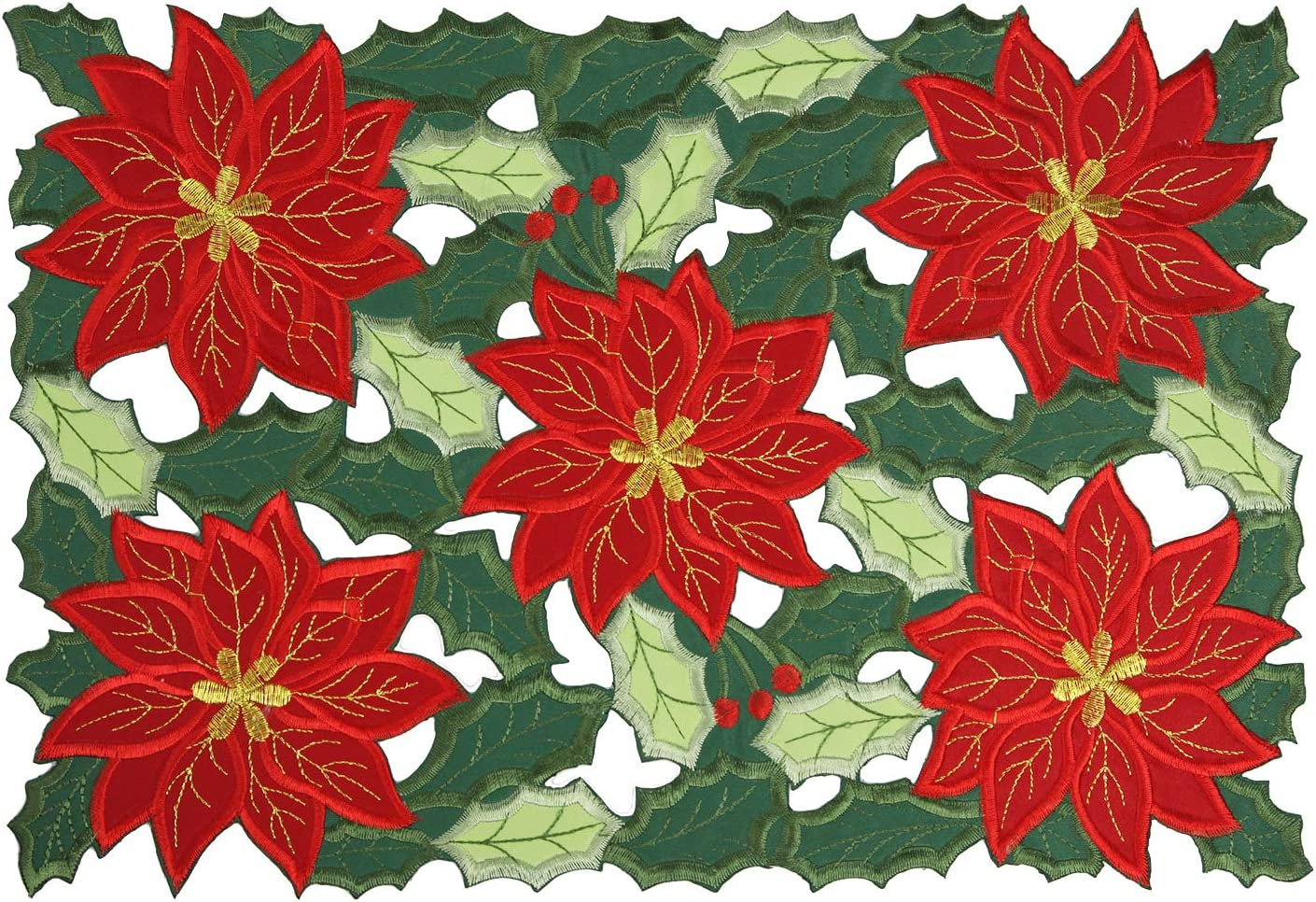 Feuille Christmas Placemats Set of 4 –Polyester Embroidered Poinsettia Placemats, Green and Red Placemats for Christmas, Table Linens Perfect for Christmas Decorations Indoor (11x17 inch Set of 4)
