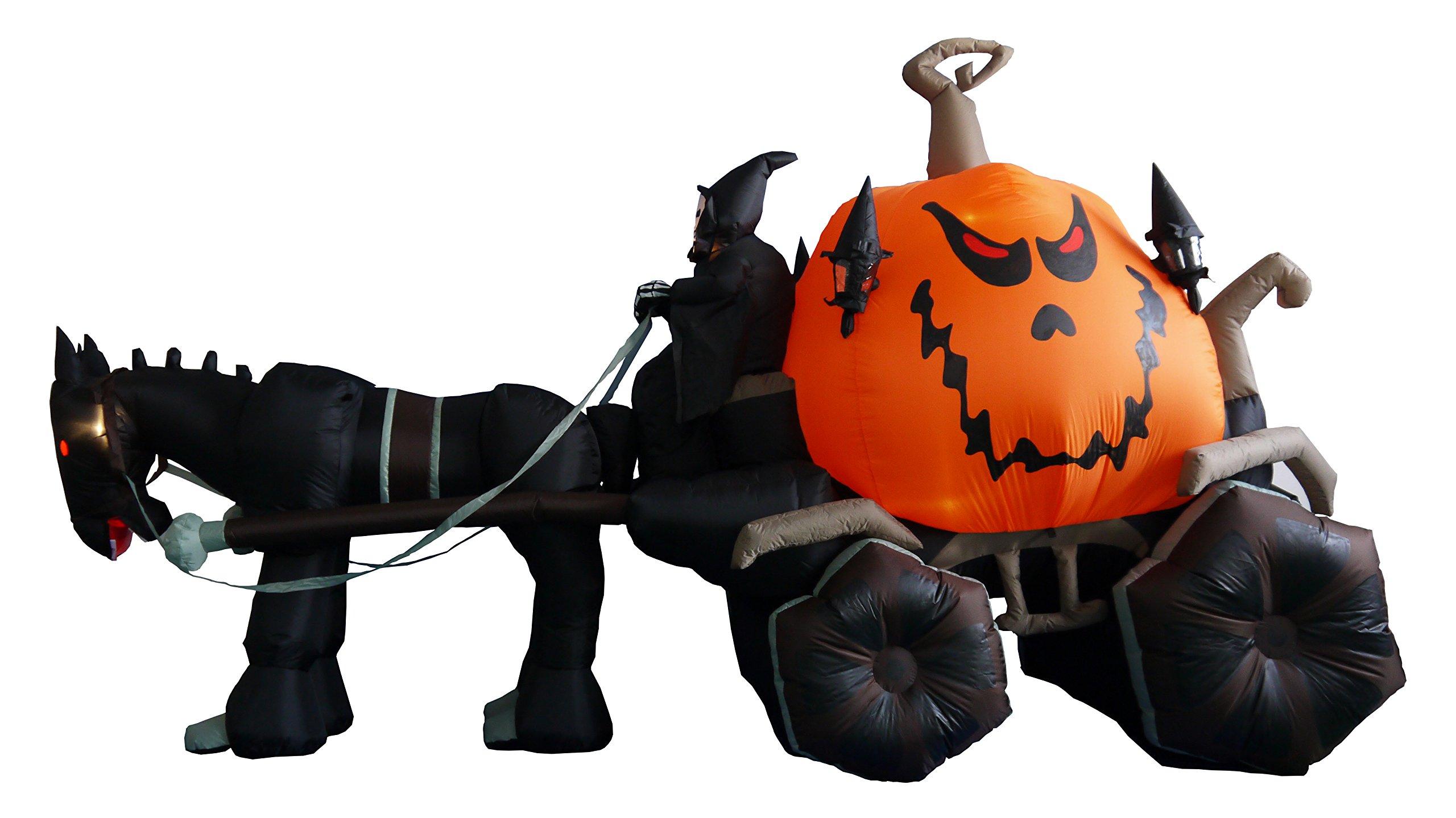 11.5 Foot Long Inflatable Grim Reaper Driving Pumpkin Carriage