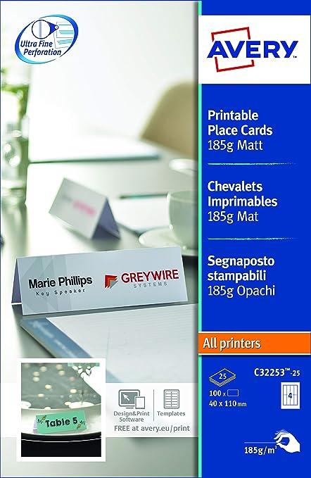 Avery Zweckform C32253 25 Tischkarten 100 Stück 110 X 40 Mm Beschichtet Matt 25 Blatt