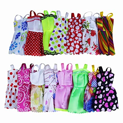 10 PCS Doll Clothes Party Mini Gown Dress + 10 Pair of Shoes fit for 11.5