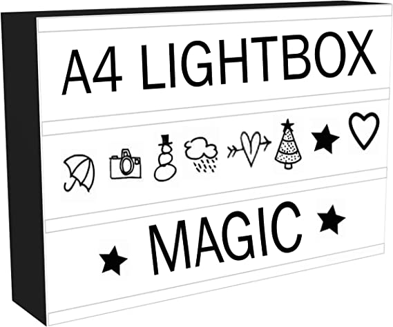 Caja de luz LED de cine con 96 letras y números de luces Emoji y ...