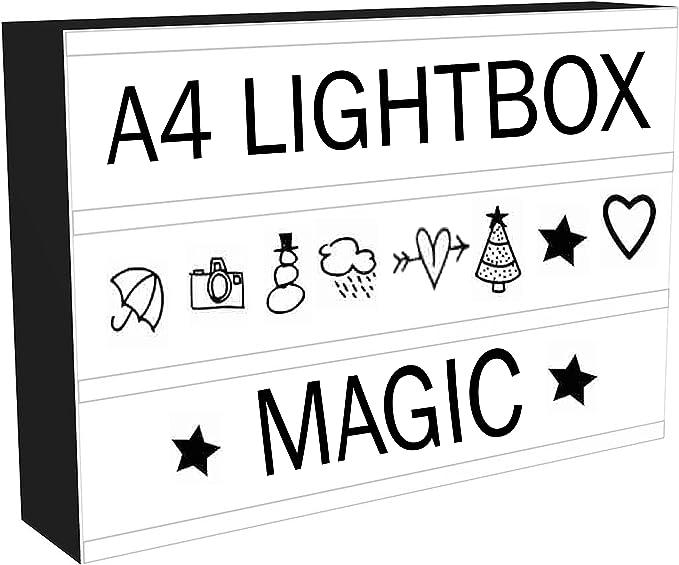 Caja de luz LED de cine con 96 letras y números de luces Emoji y cable USB, elegante, regalo perfecto para todas las ocasiones, bares, fotos.: Amazon.es: Iluminación