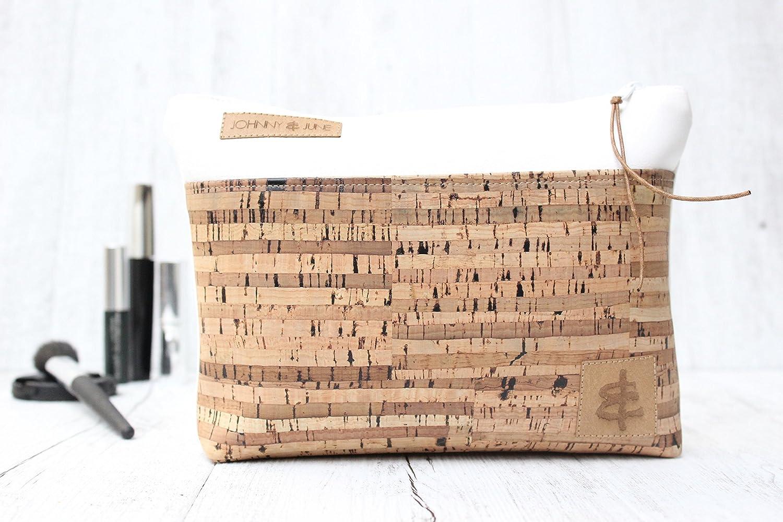 Kosmetiktasche aus Kunst-Leder in WEISS mit Reißverschluss & Innenfutter (beschichtet) und einer Aussen-Tasche aus Kork-Leder in GESTREIFT.