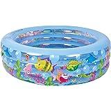 "Jilong Summertime Kiddie Pool - Large Inflatable Pool for Kids with Aquarium Design - 185"" x 73"" x 20"""