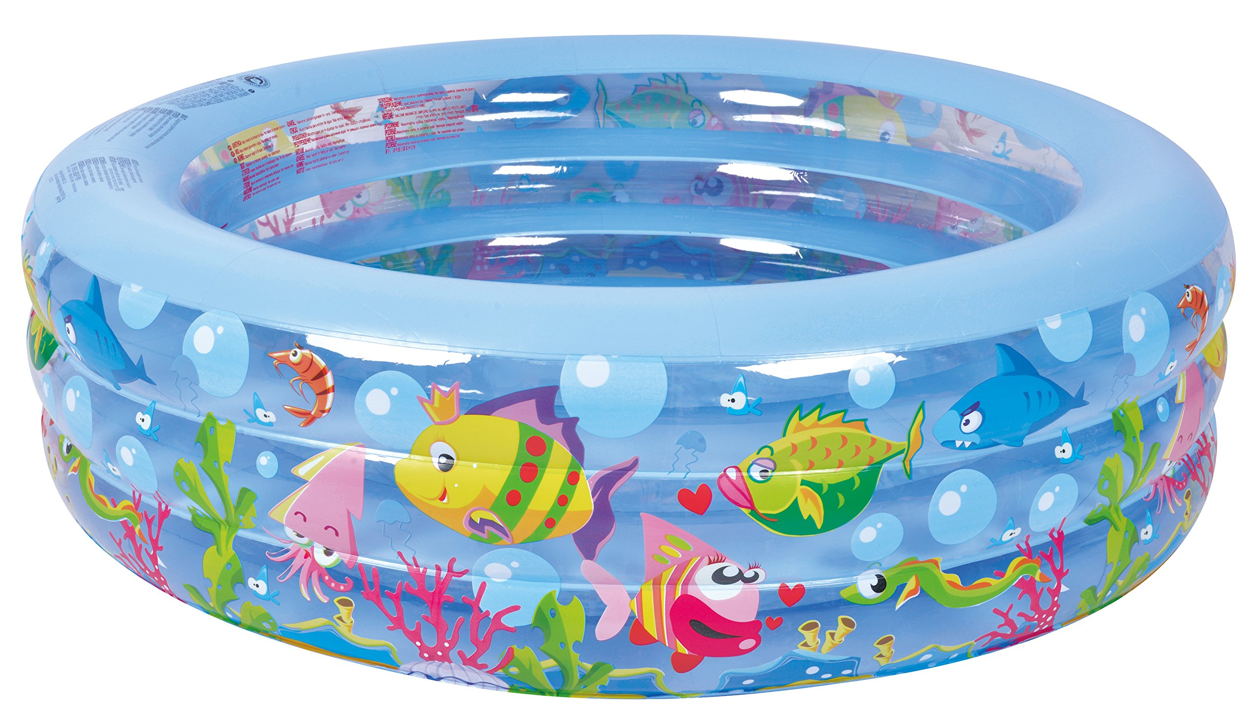 Jilong Summertime Kiddie Pool - Large Inflatable Pool for Kids with Aquarium Design - 185'' x 73'' x 20''
