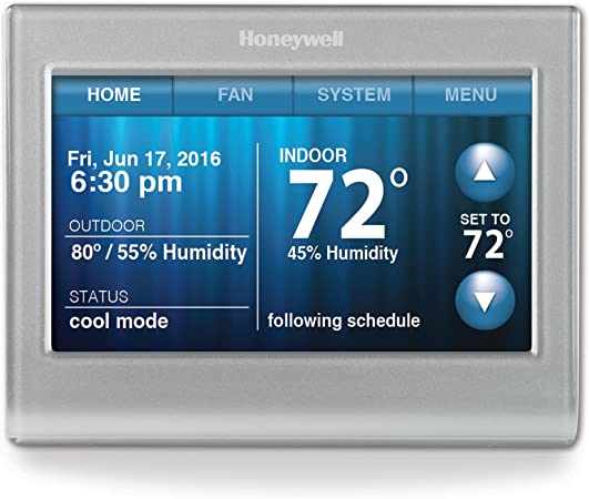 Honeywell Rth9580wf Wi Fi Smart Touchscreen Thermostat Silver