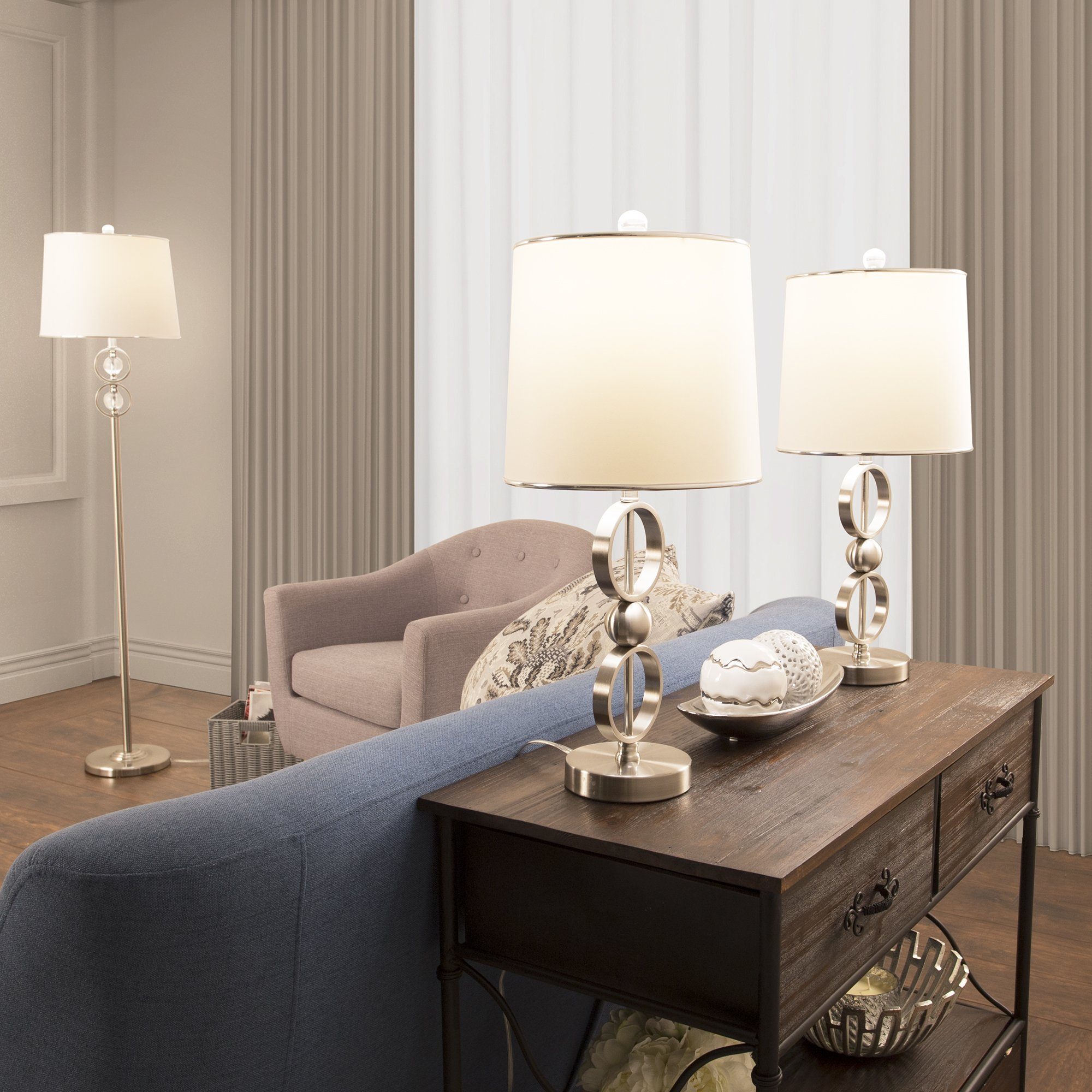Table Lamp And Floor Lamp Set Of 3 Modern Brushed Steel