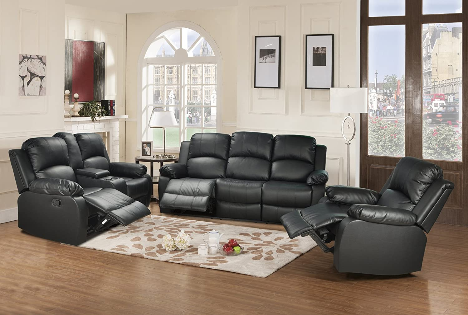 Amazon.com: Beverly Furniture 3 Piece Leather Sofa/Loveseat/Chair ...