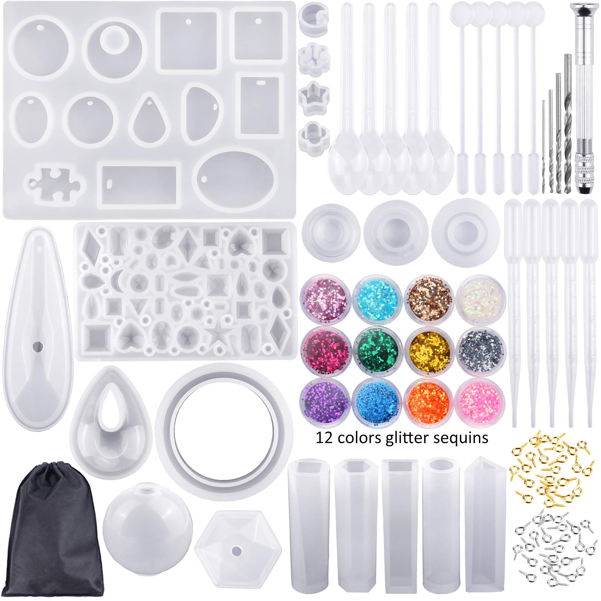 98 Pieces Silicone Casting Molds and Tools Set with a Black Storage Bag for DIY Jewelry Craft Making by Augshy