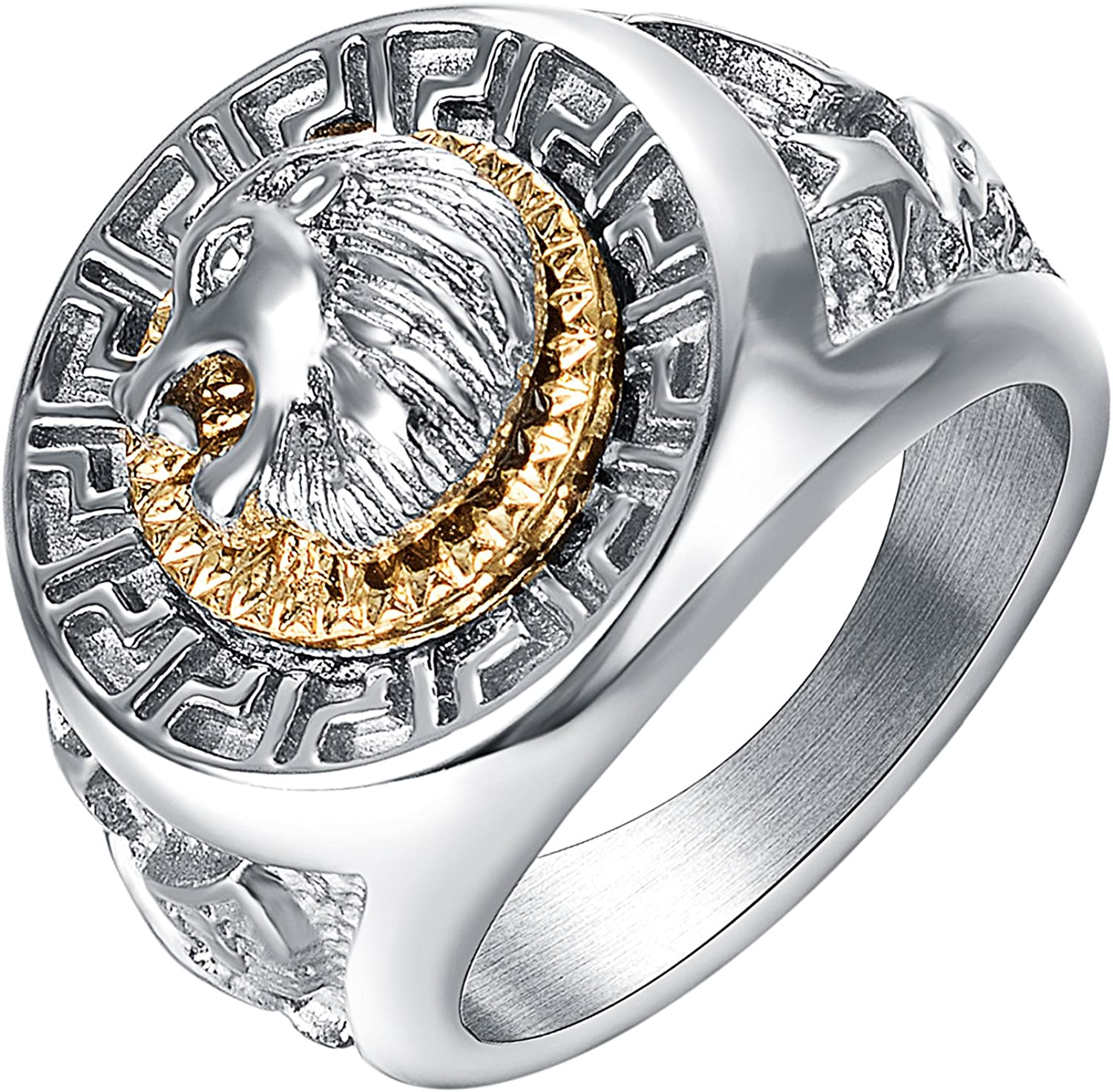 Yoursfs Lion Ring 18K Silver Plated Hip Hop Ring Lion Ring Men's Titanium Ring…