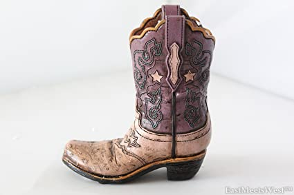 Texas Cowgirl Rustic Pink Purple Hand Tooled Leather Look Boot Piggy Bank  Hand Painted Decoration 322d57dddda