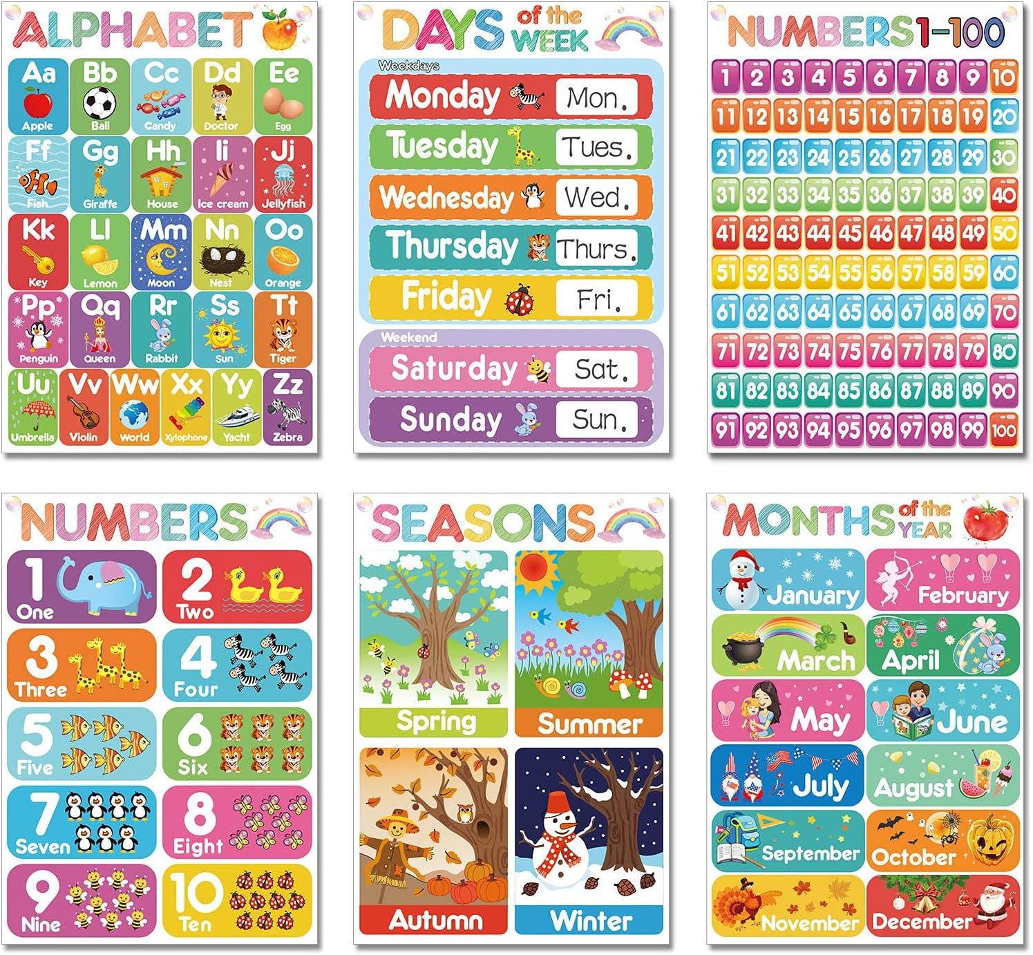 12 Pieces Educational Learning Posters Preschool Posters Toddlers ...