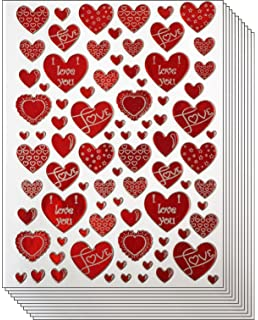 Jazzstick 400 Red U0026 White Valentine Heart With Love Decorative Sticker 10  Sheets (VST01A03)