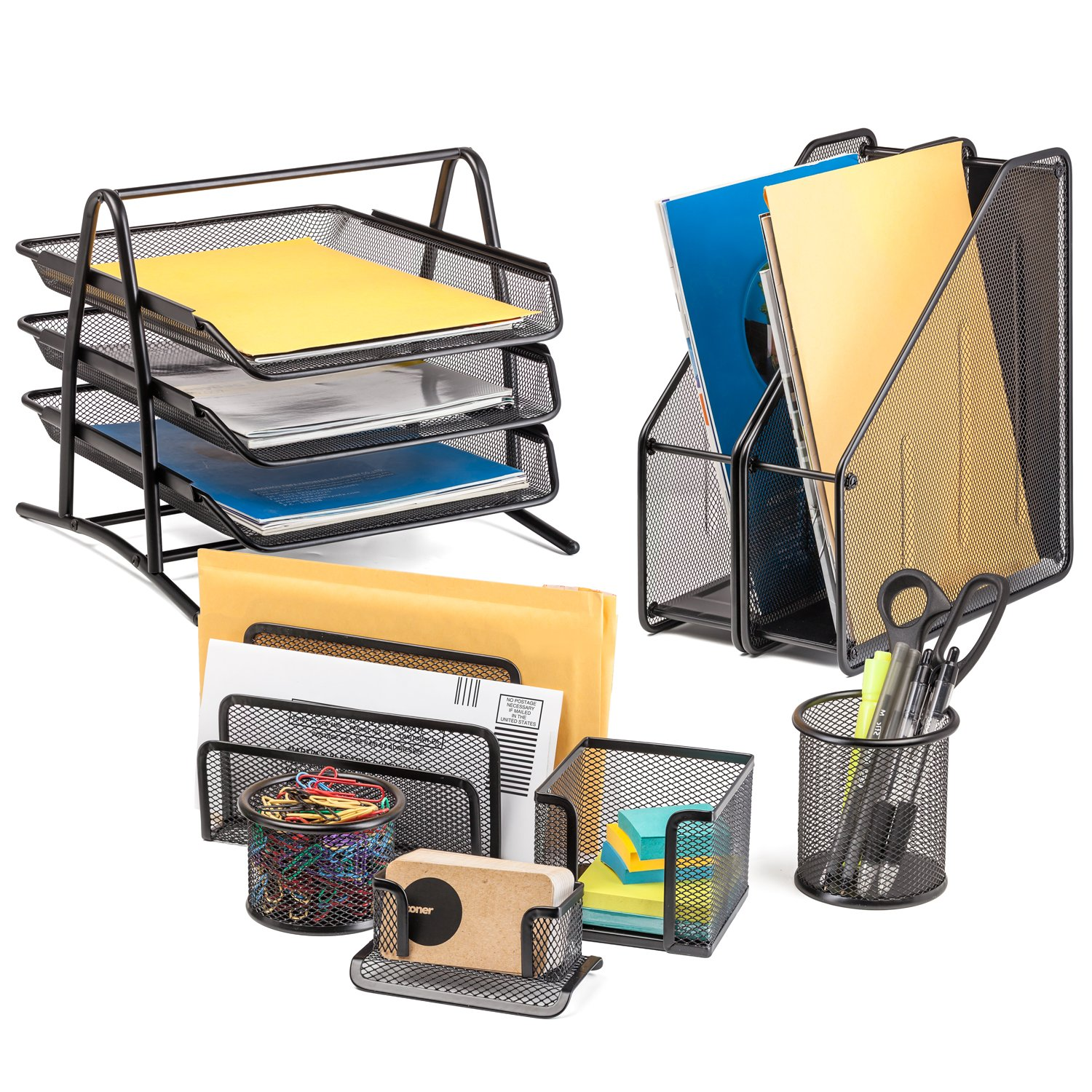 Halter 8 Piece Mesh Office Desk Set - 3 Tier File Tray   Pencil Cup   Business Card Holder   Memo Holder   Letter Holder   Small Accessories Cup   (2x) Magazine / File Holder