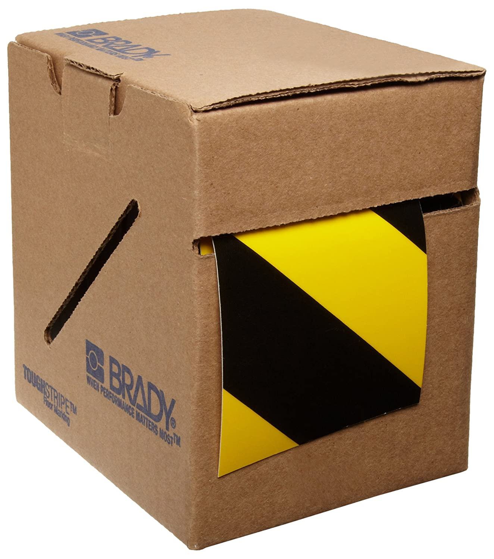 Brady ToughStripe Nonabrasive Diagonal Stripes Floor Marking Tape, 100' Length, 3' Width, Black and Yellow (Pack of 1 Roll) 100' Length 3 Width 104347
