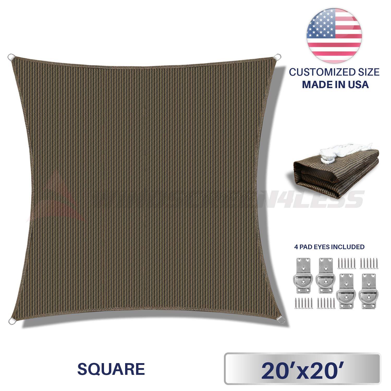windscreen4less 16 ' x 16 'サンシェードSquareキャノピーwith商用グレード( 3年保証)カスタマイズされたサイズ可能 20' x 20' ブラウン 20' x 20'