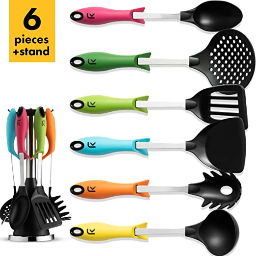 6PC MULTICOLOUR NYLON KITCHEN PLASTIC UTENSILS WITH ROTATING STAND MULTI COLOUR