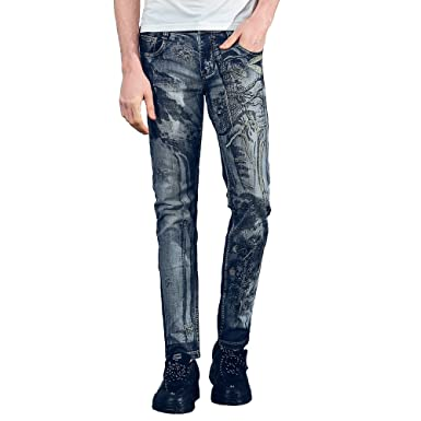 e41f9b7e FANZHUAN Jeans for Men Slim Fit Fashion Man Jeans Men Slim Fit Jeans Straight  Leg Jeans