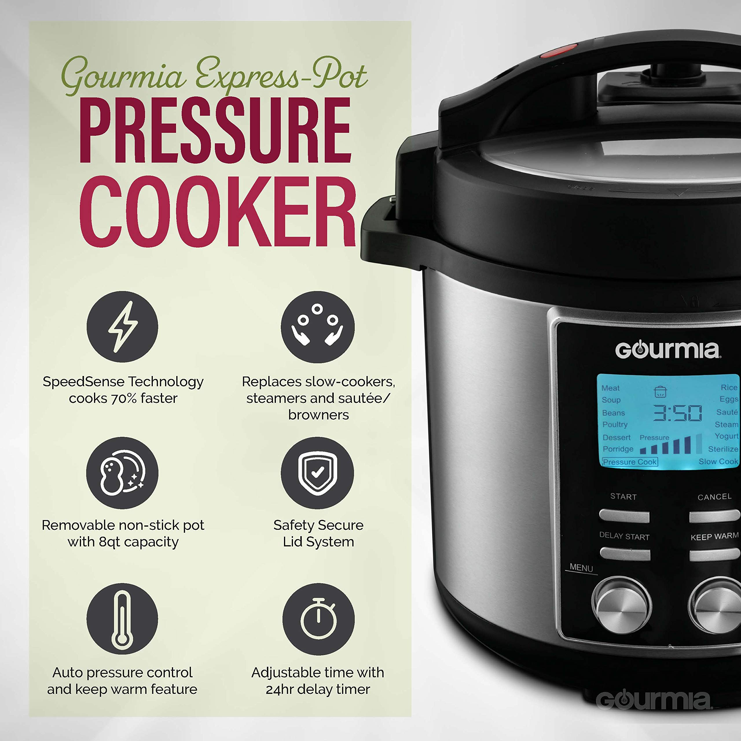 Gourmia GPC855 8 Qt Digital SmartPot Multi-Function Pressure Cooker | 15 Cook Modes | Removable Nonstick Pot | 24-Hour Delay Timer | Automatic Keep Warm | LCD Display | Pressure Sensor Lid Lock by Gourmia (Image #2)